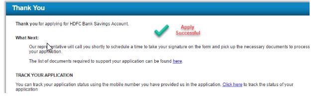 HDFC Account Form