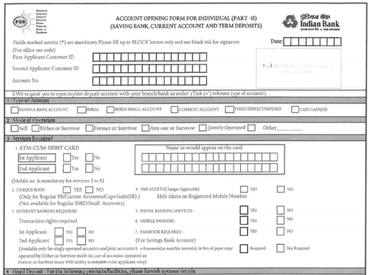 Indian Bank Saving Account Form