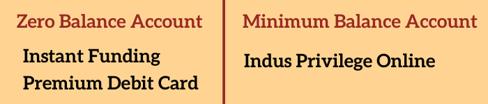 Indusind Account Selection