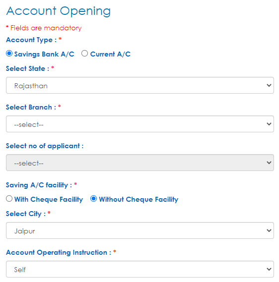 UCO Bank Saving Account Form