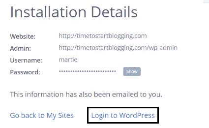 Login into WordPress