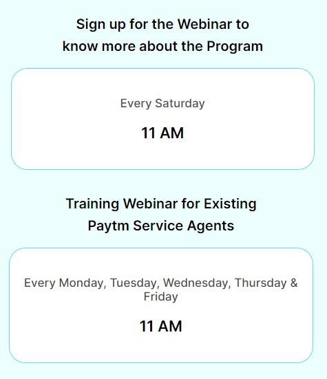 Paytm Service Agent Webinar Timing