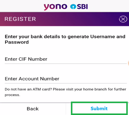 Enter CIF & Account Number