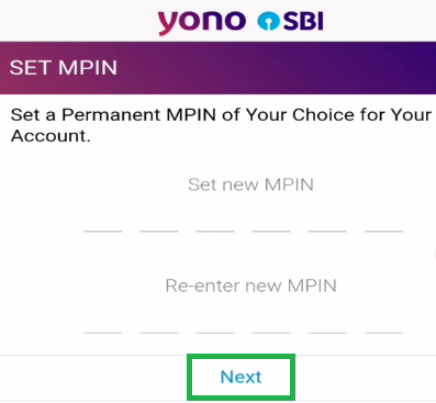 Set SBI YONO MPIN