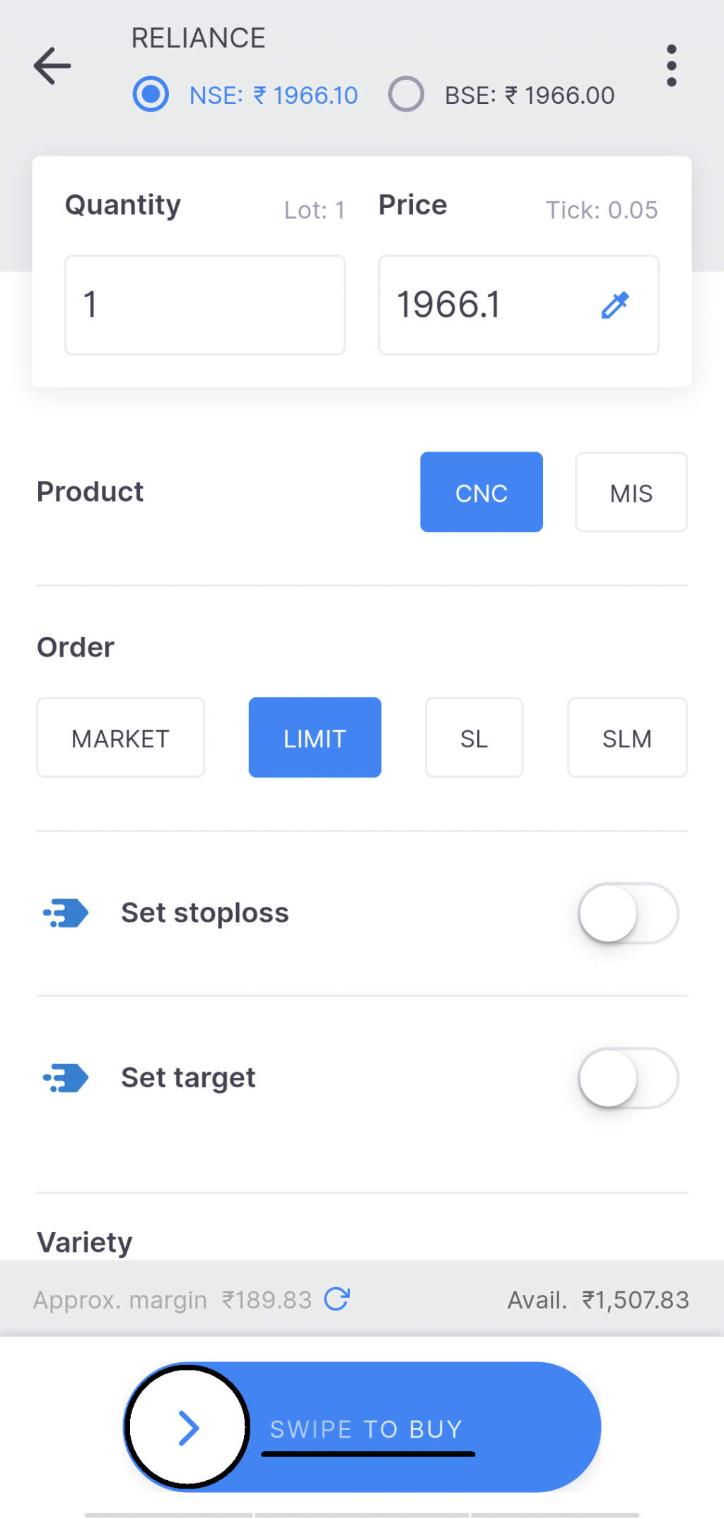 Place Limit Order In Zerodha