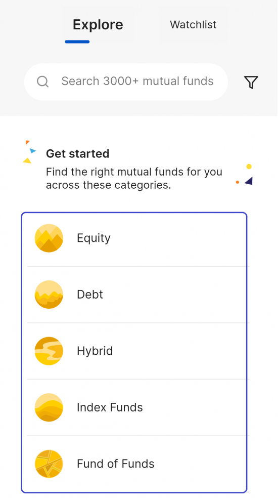 Select Your Type of Mutual Funds In Coin App